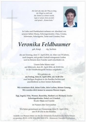Veronika Feldbaumer, geb. Karl - vlg. Sechton