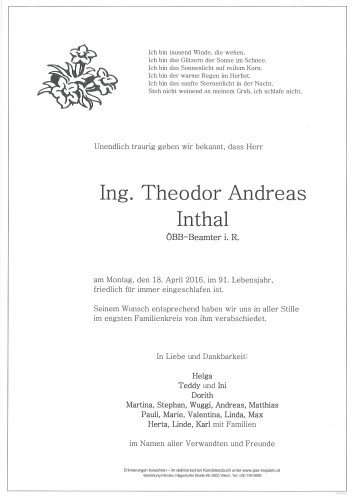 Ing. Theodor Andreas Inthal