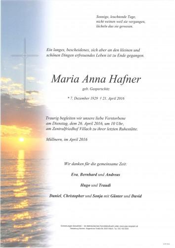 Maria Hafner geb. Gasperschitz