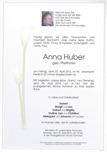 Anna Huber; geb. Pfeifhofer