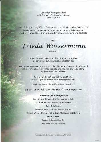 Frieda Wassermann geb. Auer