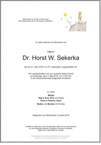 Dr. Horst W. Sekerka