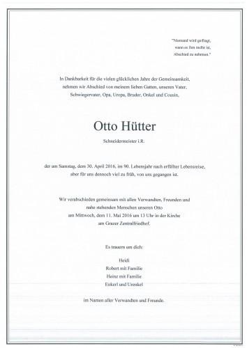 Otto Hütter Schneidermeister i.R.