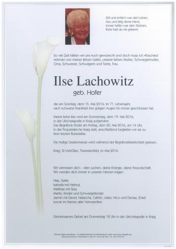 Ilse Lachowitz  geb. Hofer