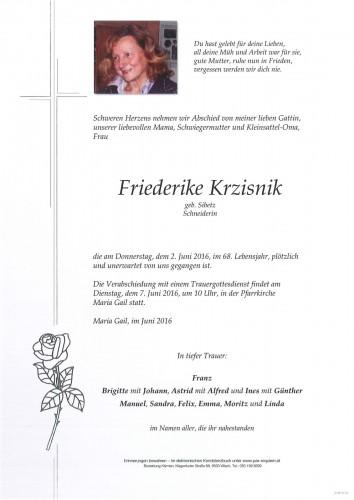 Friederike Krzisnik geb. Sibetz