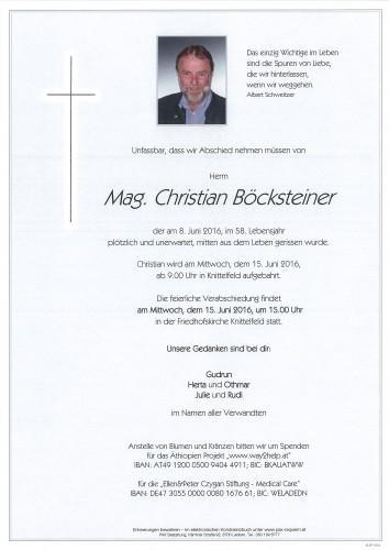 Mag. Christian Böcksteiner