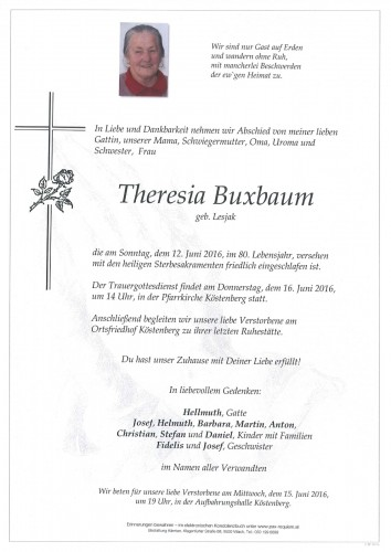 Theresia Buxbaum geb. Lesjak