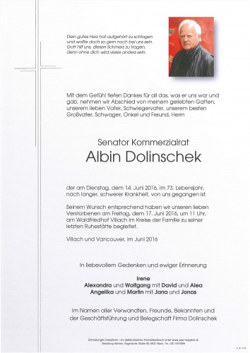 Senator Kommerzialrat Albin Dolinschek