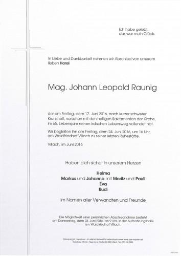 Mag. Johann Leopold Raunig