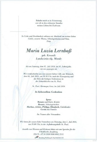 Maria Luzia Lernbaß
