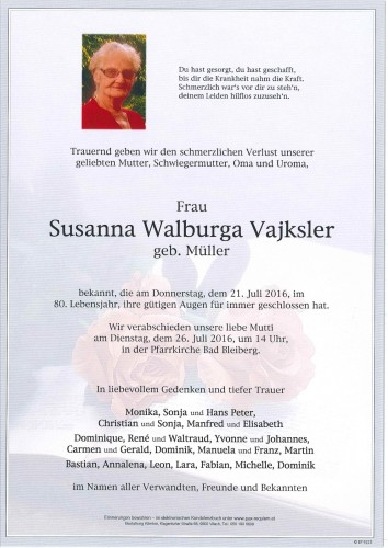 Susanna Walburga Vajksler
