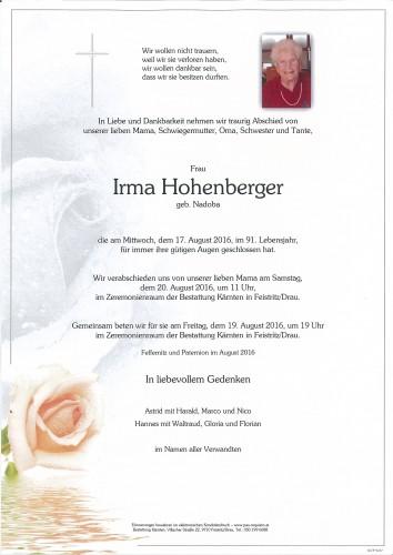 Irma Hohenberger geb. Nadoba