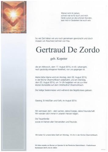 Gertraud De Zordo  geb. Kopeter