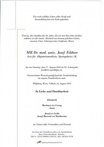 MR Dr. med. univ. Josef Feldner