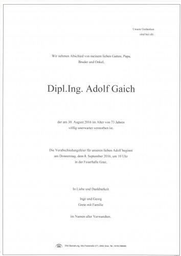 Dipl.Ing. Adolf Gaich