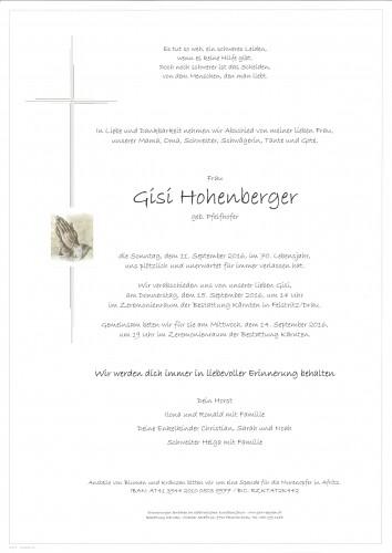 Gisela Hohenberger geb. Pfeifhofer