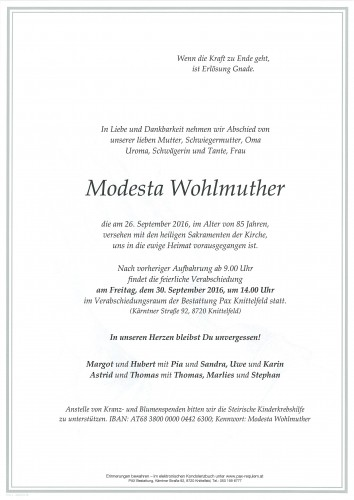 Modesta Wohlmuther