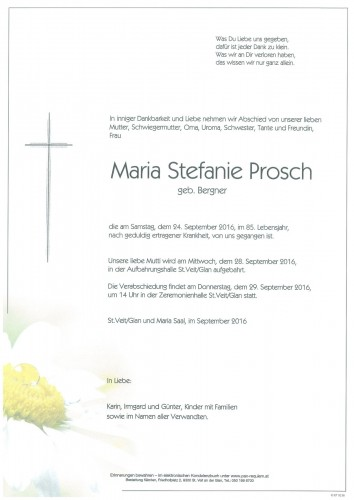 Maria Stefanie Prosch  geb. Bergner