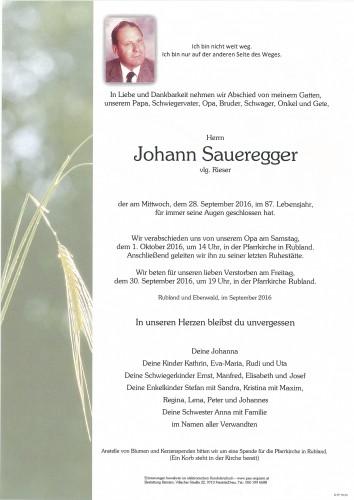 Johann Saueregger, vlg. Rieser