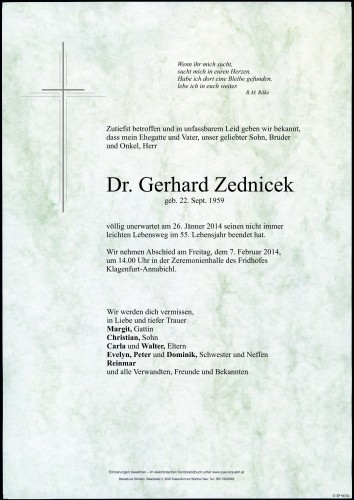 Dr. Gerhard Zednicek