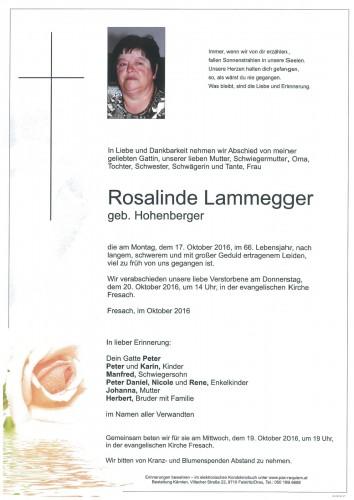 Rosalinde Lammegger, geb. Hohenberger