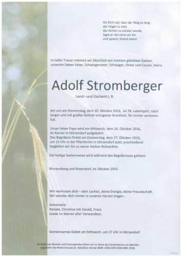 "Adolf Johann Stromberger ""Muraunerhof"""