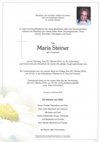 Maria Steiner, geb. Hubmann