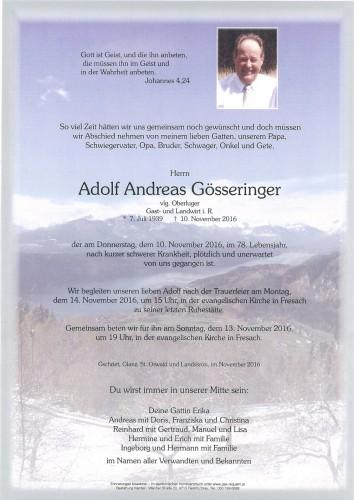 Adolf Andreas Gösseringer