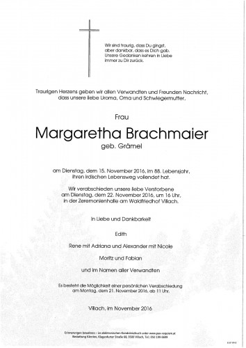 Margaretha Brachmaier geb. Grämel