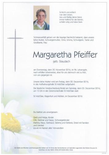 Margaretha Pfeiffer geb. Staudach