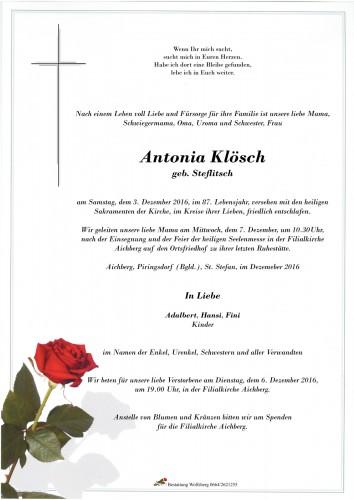 Antonia Klösch, geb. Steflitsch