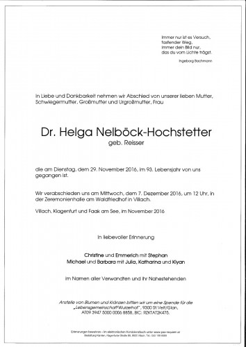 Dr. Helga Nelböck-Hochstetter