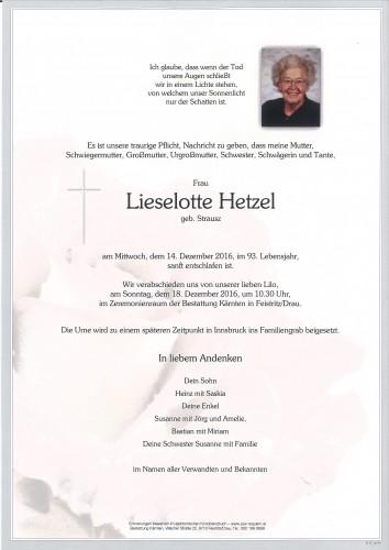 Lieselotte Hetzel, geb Strausz