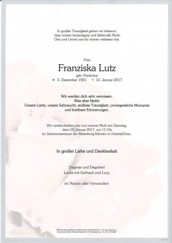 Franziska Lutz, geb. Pantschur