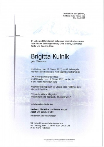 Brigitta Kulnik geb. Weimann