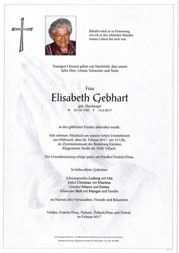 Elisabeth Gebhart geb. Ebenberger
