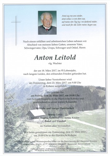 Anton Leitold, vlg. Wachter