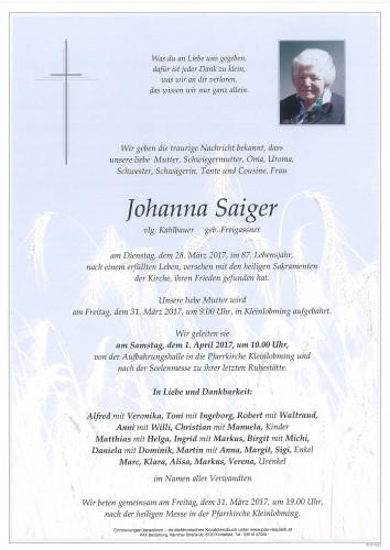 Johanna Saiger, vlg. Kahlbauer