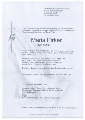 Maria Pirker  geb. Stingl