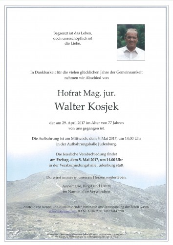 Hofrat Mag. jur. Walter Kosjek
