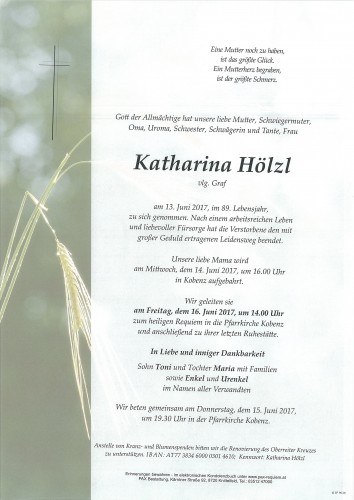 Katharina Hölzl, vlg. Graf