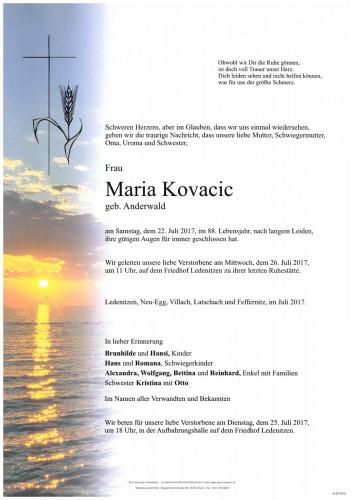 Maria Kovacic, geb. Anderwald