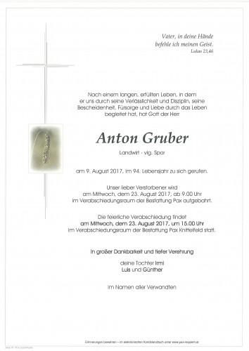 Anton Gruber, Landwirt vlg. Spor