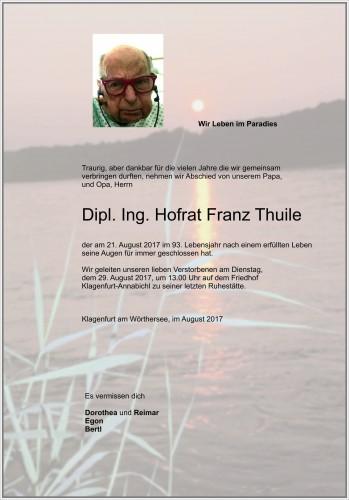 Dipl. Ing. Hofrat Franz Thuile