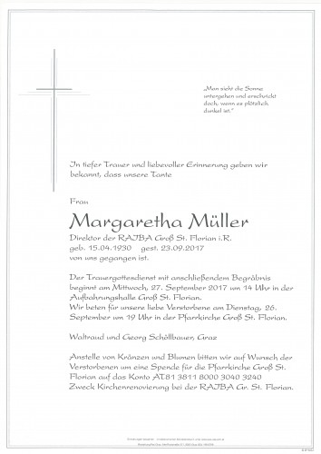 Margaretha Müller Direktorin i.R.