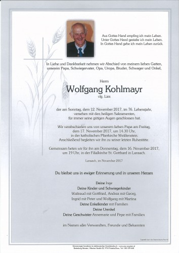 Wolfgang Kohlmayr, vlg. Lies